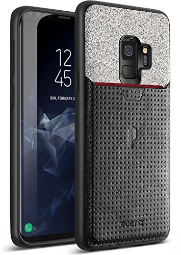 Poetic Galaxy S9 Credit Card Case, Nubuck [Credit Card Slot][Pull-Tab] Credit Card ID Slot Case - Stylish Thin TPU + Premium Leather Back Case for Samsung Galaxy S9 Black