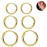 Fashion Sleeper Cartilage Tiny Small Hoop Earrings 925 Sterling Silver Gold Plated Round Nose Ring Tragus Piercings Thin Endless Continuous Piercing Hoops 10mm 12mm 14mm Set