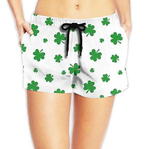 ST Patricks Shamrocks Leaves Women Color Fashion Water Sports Beach Pants Pocket