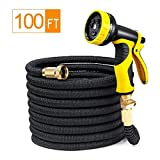 100 Ft Garden Hose LeHom Expandable Garden Hose 3/4'' Solid Brass Fittings, Collapsible Flexible Shrinking Water Hose with 9 Spay Mode Nozzle, No Kink, Lightweight with Fabric Protection