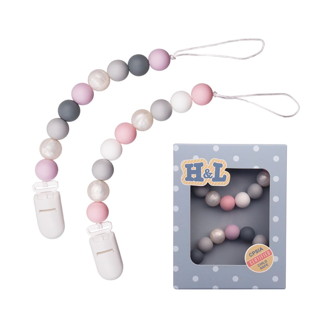 Pacifier Clip, H&L Silicone Teething Beads Binky Teether Holder for Girls, Baby Shower Gift, 2 Pack (Pink+Purple)