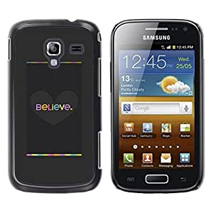 For Samsung Galaxy Ace 2 I8160 / Ace2 II XS7560M Case , Grey Heart Pastel Gray Brushed - Diseño Patrón Teléfono Caso Cubierta Case Bumper Duro Protección Case Cover Funda