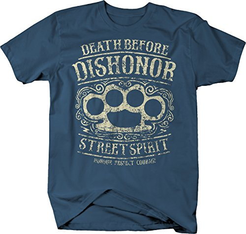 Fighting T-shirt Spirit (M22 Death Before Dishonor Street Spirit Honor Respect Courage Fighting Knuckles Tshirt - Large)