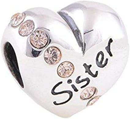 925 Sterling Silver Bling Crystal Sister Charm Bead Fits Pandora Charms