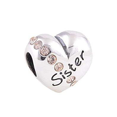 Love Sister Crystal Bead 925 Sterling Silver Heart Charms for Women Jewelry Charms Bracelets qJEZnU