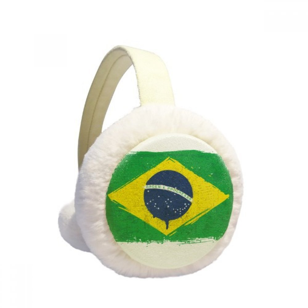 Hand-painted Brazil Flag Brazil Winter Earmuffs Ear Warmers Faux Fur Foldable Plush Outdoor Gift