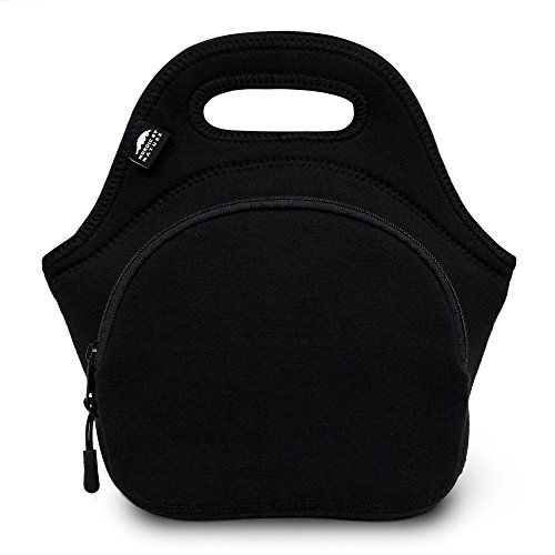 Neoprene Lunch Bag For Women, Men & Kids (M, Black) | Extra Thick 5 mm Insulation Keeps Your Lunch Box Delicious For Hours | Washable | Soft Cotton | Extra Pocket | YKK zippers | Great For 1-2 Box (Great Lunch Box)