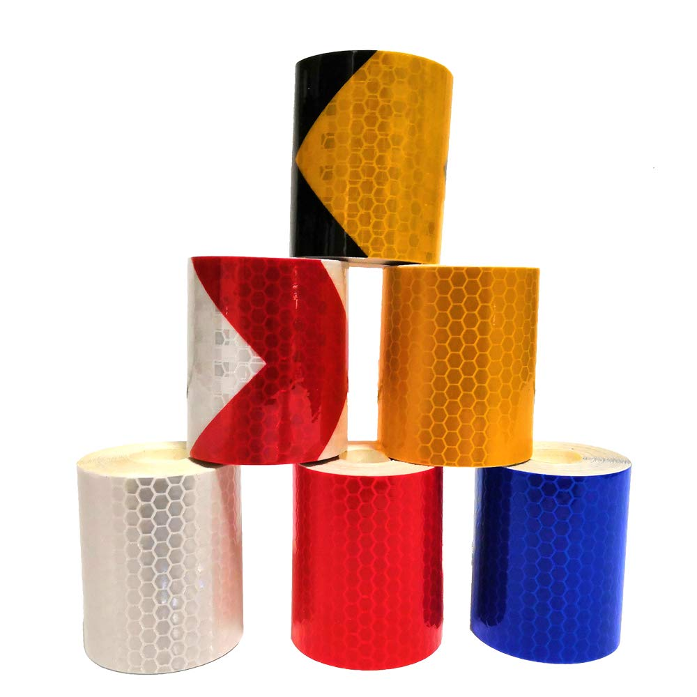 6 roll 5cm×3m Reflective Tape Safety Warning Sticker High Intensity Self-Adhesive 6 colors (6 roll) MZTD