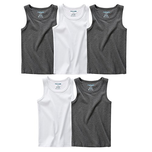 MAMABIBI Little Boys Undershirts Round Neck 100% Cotton Sleeveless T-Shirt 5 Pack by MAMABIBI (Image #7)