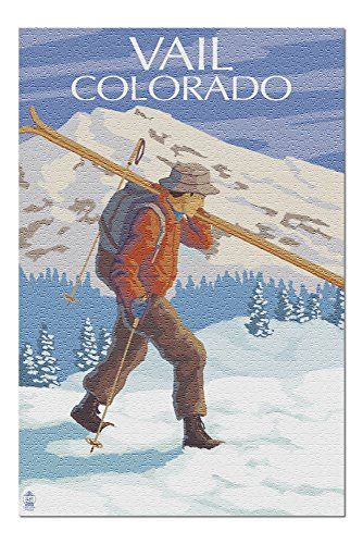 Vail, Colorado - Skier Carrying Skis (20x30 Premium 1000 Piece Jigsaw Puzzle, Made in USA!)