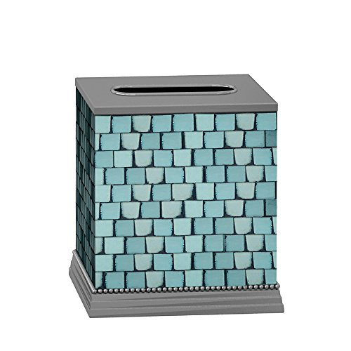 Mosaic Tissue - nu steel Iceberg Square Paper Facial Tissue Box Cover Holder for Bathroom Vanity Countertops, Bedroom Dressers, Nightstands, Desks and Tables Mosaic Glass Aqua Shiny Aluminum Finish