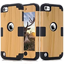 iPod Touch 5 Case, iPod Touch 6th Gen. Case, Easytop 3 in 1 Wood Series High Impact Hybrid Armor Defender Soft Flexible Inner Silicone Protective Hard Case Cover for Apple iPod Touch 5/ 6 (Black)