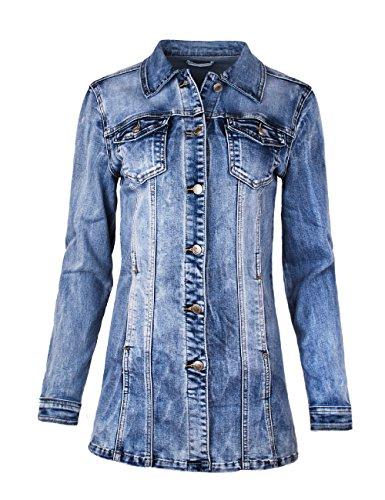 Femme Manteau Jean Blouson Veste Bleu Fraternel En Pour wnfY4Egx
