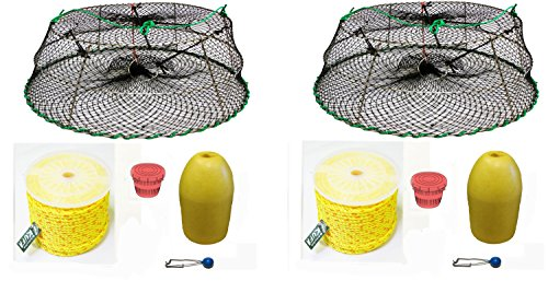 2-Pack of KUFA Sports Tower Style Prawn trap with 400' rope, Yellow float and Vented Bait Jar combo (CT77+PAP3)X2 by KUFA