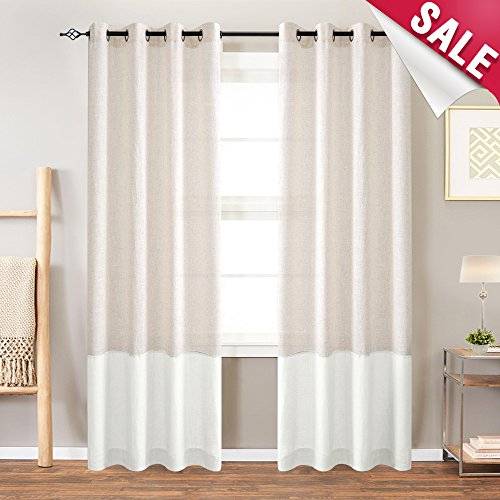 Linen Textured Curtains for Living Room Color Block Window Curtain Panels for Bedroom 84 inches Long Light Filtering Grommet Windoow Treatment Set- Flax & White