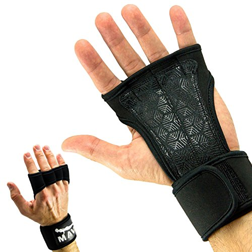 Sport Grip Silicone (Mava Sports Cross Training Gloves with Wrist Support, Medium - Black)
