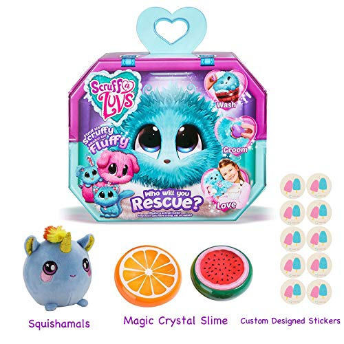 Gift Bundle Little Live Scruff-A-Luvs (Aqua) with 3.5 Squishamals and Magic Crystal Slime - By Simple -