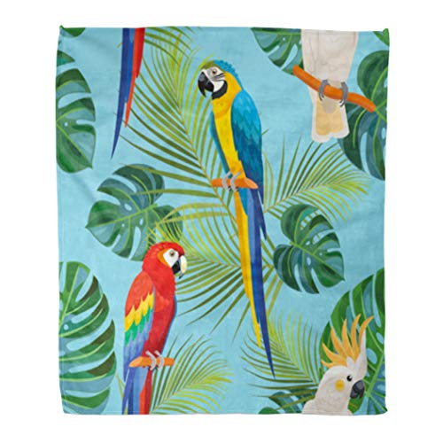 Golee Throw Blanket Birds Tropical Pattern Parrots Cockatoo Exotic Leaf Monstera Palm Leaves 60x80 Inches Warm Fuzzy Soft Blanket for Bed ()