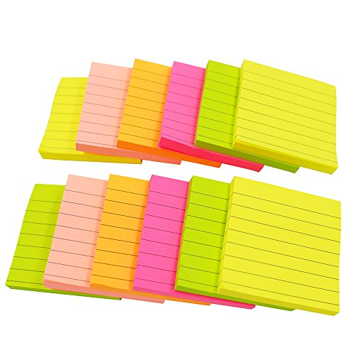 Sticky Notes, Memo Self-Stick Notes, Lined ,3X3 Inches 80 Sheets/Pad 12 Pad/Pack, 5 Colors Photo #7