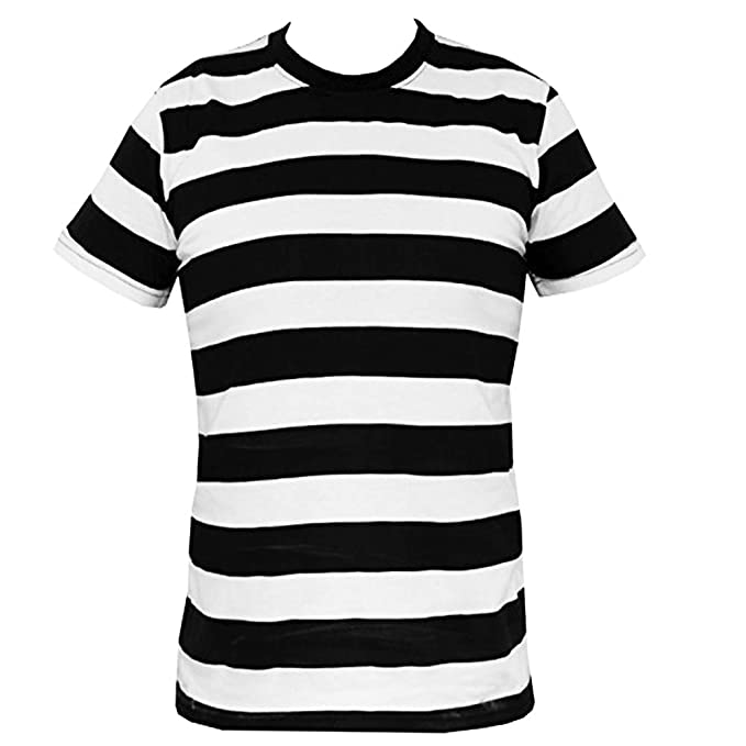 cb32972a39d2 Horizontal Striped Black and White T Shirt Indie Retro Rock T Shirt:  Amazon.co.uk: Clothing