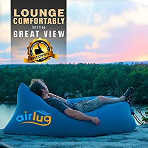 Luxury Inflatable Lounger Sofa by Airlug | No Pump Required | Inflates Instantly | Indoor & Outdoor Air Bed Hammock | Lounge Chair Bean Bag for Beach Patio Poolside Camping | Portable Furniture