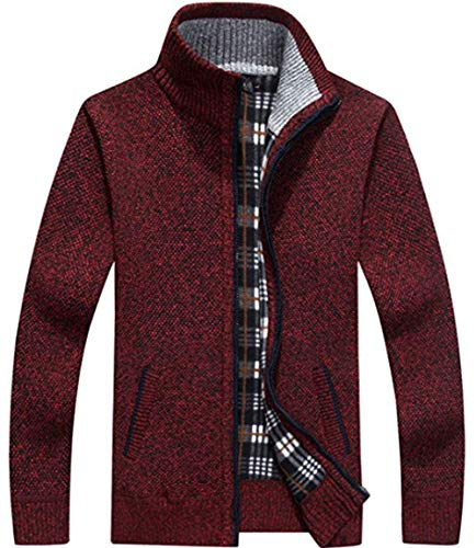 XinYangNi Men's Casual Slim Full Zip Thick Knitted Cardigan Sweaters with Pockets