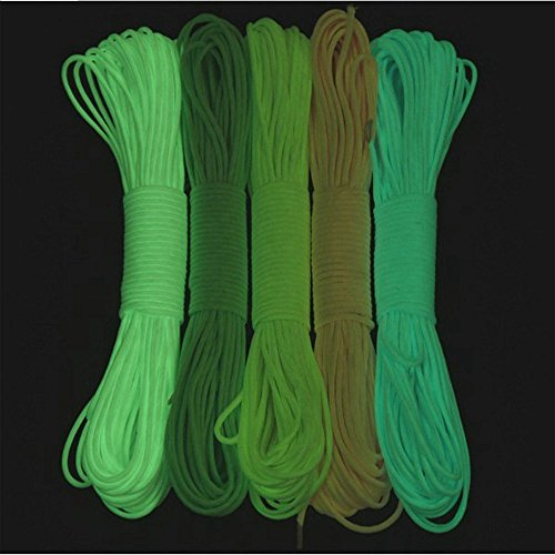 550 Glow Portable Survival 9 Strand Cord Paracord Parachute Bracelets Luminous in the Dark 100% Nylon 25ft 50ft 100ft