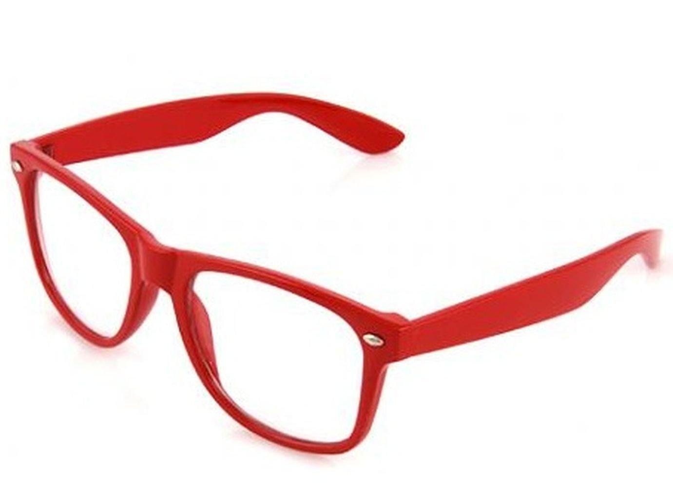 4sold Lesebrillen Sonnenbrille Brille Atzenbrille Nerd Brille Klar oder als Nerdbrille in verschiedenen Farben Hornbrille verschiedenen Sehstärken Brille w-50