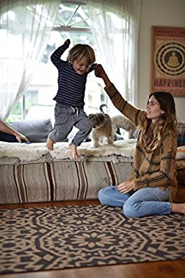TRIBE WEST Baby Playmat. Large Non-Toxic Easy Clean Activity Floor Mat for Crawling Babies, Toddlers, Boy or Girl,100% Natural Cork and Rubber, Durable, Sale Supports Global Artisans (Bohemian)