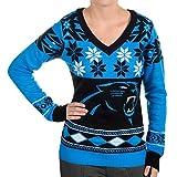 NFL Women's V-Neck Sweater, Carolina Panthers, Large