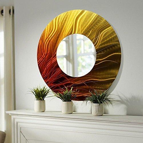 on Allen Metal Art Abstract Metal Wall Mirror, Orange home wall art