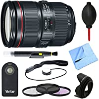 Canon EF 24-105mm f/4L IS II USM Lens, Shutter Remote, and Accessories Bundle - Includes Lens, Wireless Remote, 77mm Filter Kit, 77mm Lens Hood, Cap Keeper, Dust Blower, Cleaning Pen, and Cloth