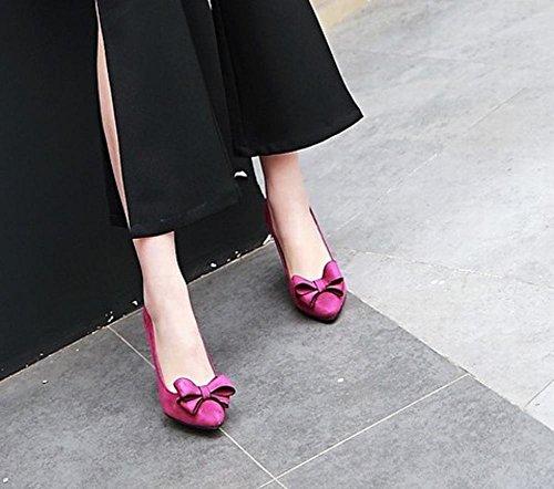 Charm Foot Womens Elegant Bow Pointed Toe Stiletto High Heels Pumps Purple AGrduzbhK