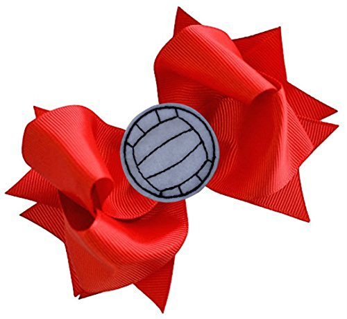 VOLLEYBALL BOW Girls 4.5 Inch Grosgrain Volleyball Hair Bow with Embroidered Volleyball By Funny Girl Designs (RED) ()