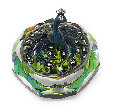 (Kubla Crafts Enameled Blue Peacock on Cut Glass Trinket Box, Accented with Austrian Crystals, 3 Inches)