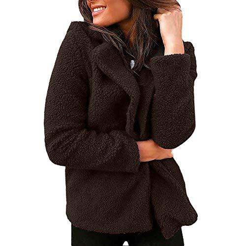 Alpha Embroidered Visor - KIKOY Women Lapel Wool Blend Winter Solid Suit Blazer Jacket Coat Short Outwear