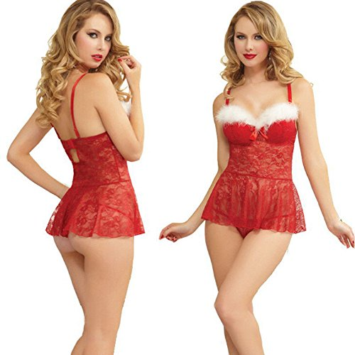 NEWEST! Charm Christmas Underwear Women's Sexy Lingerie Red Babydoll Dress Sleepwear (X-Large, Red) (Blow Pop Adult Costume)