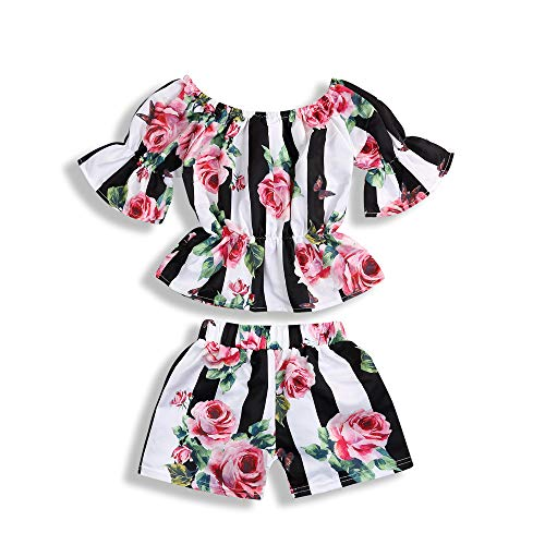 (2PCS Toddler Kids Baby Girl Flower T-Shirt Tops + Shorts Pants Stripe Outfits Set (Red, 1-2 Years))