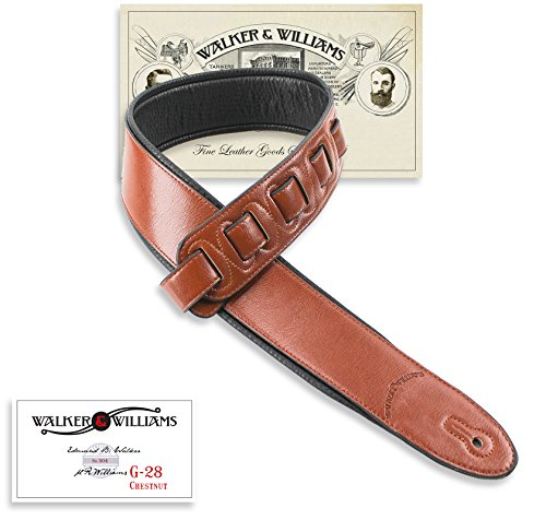 28 Chestnut Brown Semi-Gloss Bullnose Guitar Strap with Padded Glove Leather Back ()