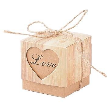 50pcs Cajas de Caramelos (5*5*5cm) Cajas de Regalo Boda Dulces