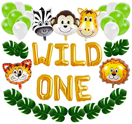 Wild One First Birthday Balloon Decoration Kit, 1st Boy Girl Theme Bday Party Banner Decoration -