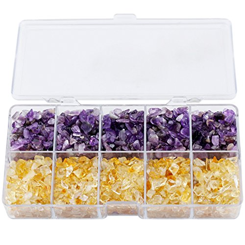 Citrine Box Jewelry Amethyst (mookaitedecor Crystal Chips Tumbled Stone, 500g Mix Amethyst & Citrine for Cabbing, Tumbling, Healing Set)