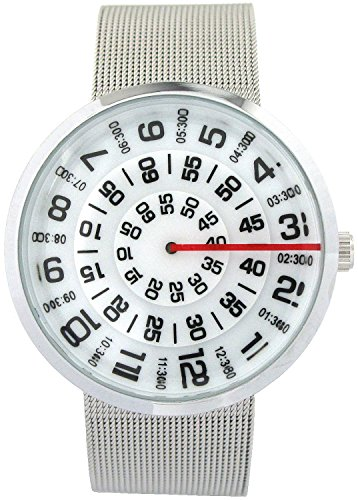 YouYouPifa Unisex Special Design Dial Stainless Steel Quartz Business Wrist Watch (White) (Watch Dial White Stainless)