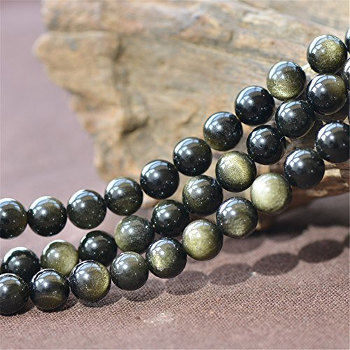 Grade A Natural Gold Obsidian Beads NOT Dyed 4mm-20mm Smooth Polished Round 15 Inch Strand OB12