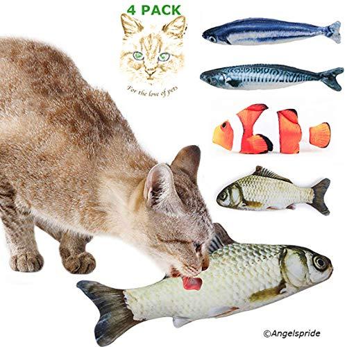 Angel's Pride Spielzeug mit Katzenminze 4 Stück Katze Interaktives Spielzeug Katze Fisch Spielzeug Plüsch Katze Kauen…