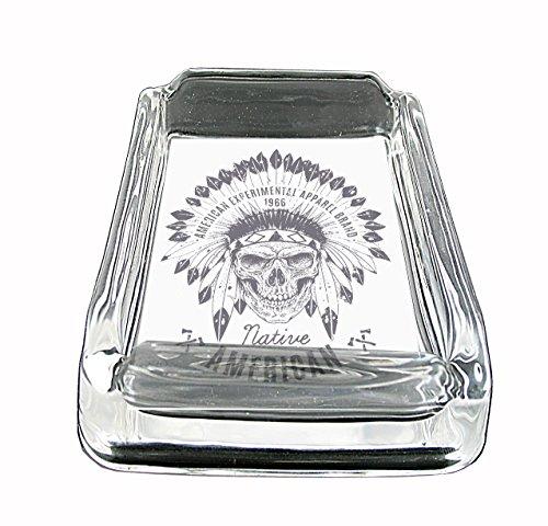 - Native American Skull Wearing Headdress Glass Square Ashtray