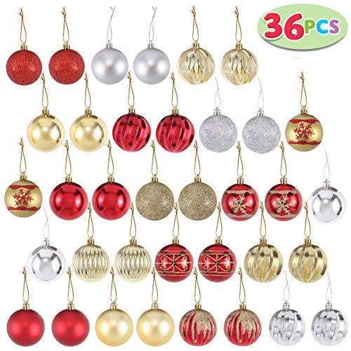 Joiedomi 36 Collectable Ball Ornaments Set for Christmas Tree Decoration Red and Gold with 18 Designs (60 mm, 2.36)