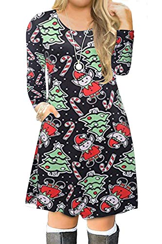 VISLILY Women's Plus Size Ugly Christmas Holiday Party Dress with Pockets 20W 06F