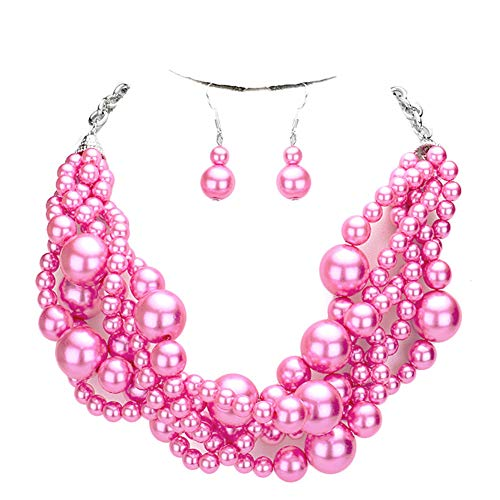 Fashion 21 Women's Simulated Faux Braided, Twist Multi-Strand Pearl Statement Collar Necklace and Earrings Set (Twisted - Hot ()