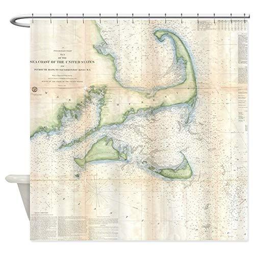 (CafePress Vintage Map of Cape Cod (1857) Decorative Fabric Shower Curtain (69
